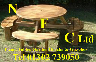 Winchester Treated Seater Round Picnic Table Bench WRGG - 8 seater round picnic table